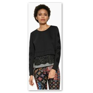 Desigual Andelin Sweater Black Layered Lace